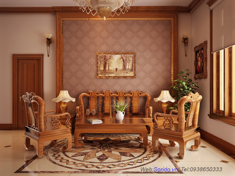bàn ghế gỗ lát hoa