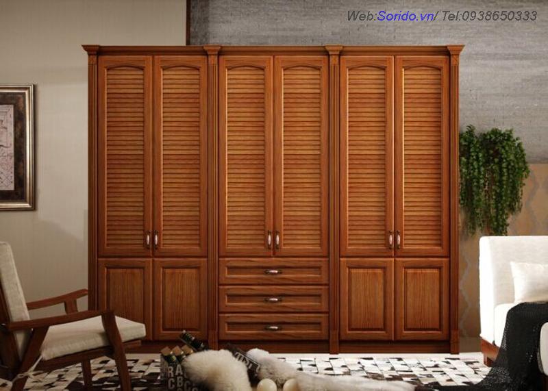 tủ quần áo gỗ lát hoa