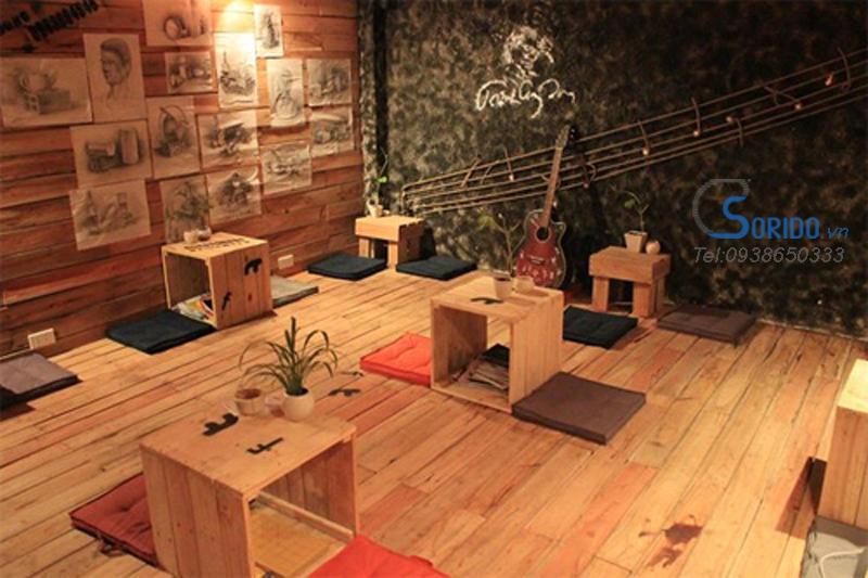 quán cafe nội thất gỗ pallet